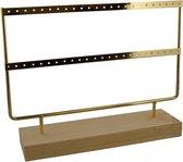 Dielay - Sieradenhouder - Display voor Sieraden - Oorbellenrek - Hout en Metaal - 27x22x7 cm - Chrome Goudkleurig