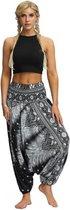 yoga pants loose women high waist Women Summer Loose Yoga Trousers Baggy Boho Jumpsuit Harem Pants gym Zwart Wit