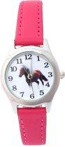 Pony / paarden horloge - donker roze - 20 mm - I-deLuxe verpakking