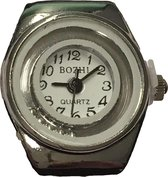 Petra's Sieradenwereld - Horlogering met witte rand en zilverkleurige balletjes (82)