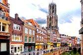 De Oude gracht met de Dom toren op de achtergrond in Utrecht, Nederland in olieverf look | popart, modern, sfeer | Foto schilderij print op Canvas (canvas wanddecoratie) | 60x40cm