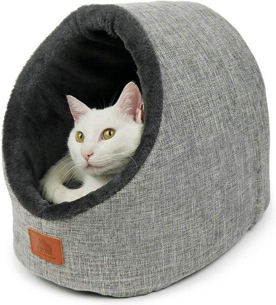 Kattenmand in Iglo stijl grijs | Comfortabele kattenmand van zacht materiaal | Ook geschikt als hondenmand | Slaapplek voor katten en honden | Makkelijk schoon te maken en geschikt voor wasmachine | Kattenhuis