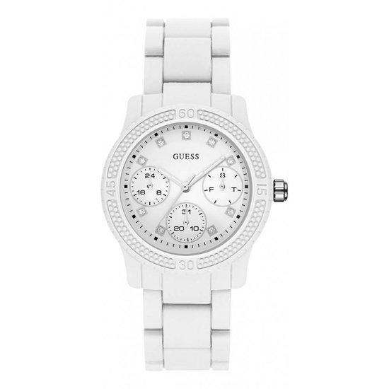 GUESS Watches Dames Horloge W0944L1 - siliconen - wit - Ø 38 mm - GUESS