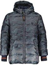 Bellaire Jongens  jas met camouflage print en capuchon - grijsblauw donker - Maat 134/140