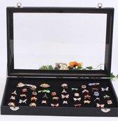 100 Ringen Display Case Met Deksel - Zwart - Opberg Doos - Sieraden