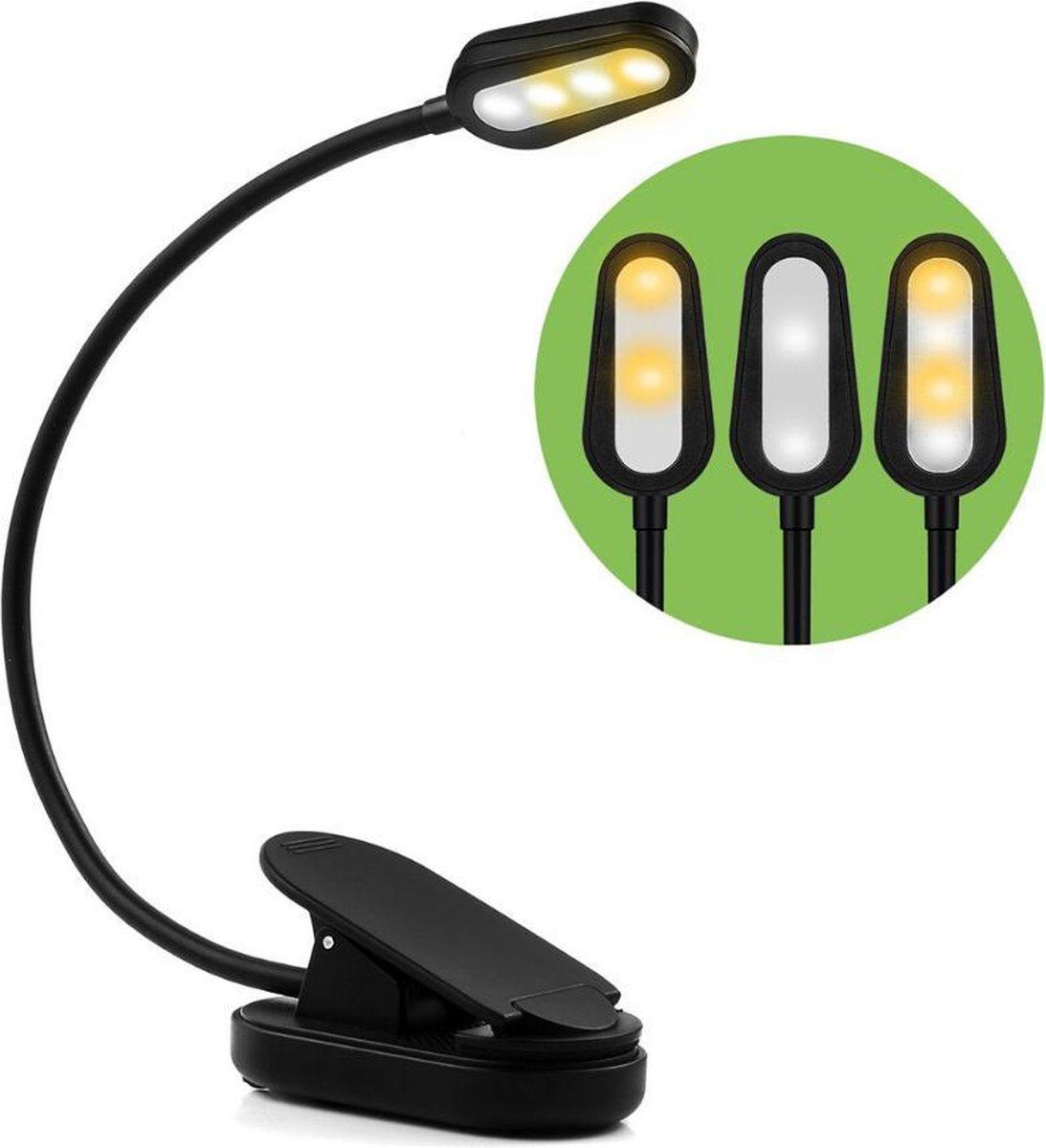 HandyLight Oplaadbaar USB Leeslampje met Klem - Draadloos Clip On LED Boeklampje - Dimbaar - Verstelbaar - Flexibel - Flexilight - Met Accu voor 60 uur - Geschikt voor Boek/E-reader/Kindel/Kobo/PC/Laptop/Muziek/Slaapkamer - Zwart