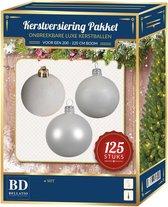 Kerstbal en ster piek set 125 wit - voor 210 cm boom - Kerstboomversiering wit