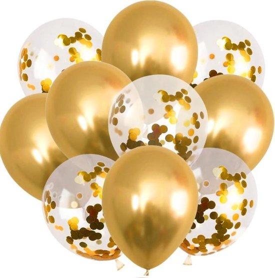 20 Confetti Goud|Latex Ballonnen set