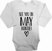Baby rompertje see you in may auntie | Bekendmaking zwangerschap | Cadeau voor de liefste aanstaande tante | Bekendmaking zwangerschap rompertje voor tante in de maat 56.