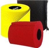 3x Gekleurd toiletpapier rollen 140 vellen - Zwart/rood/geel thema feestartikelen decoratie - WC-papier/pleepapier