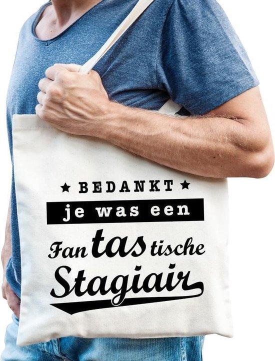 Cadeau tas wit katoen met de tekst Fantastische stagiair - kadotasje / shopper voor stagiair heren