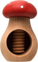 "Uulki Houten Notenkraker ""Paddenstoel"" - in Europa gemaakt uit Europees Beukenhout (rood)"