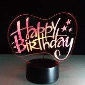 3D ILLUSIE LAMPJE HAPPY BIRTHDAY MET 7 KLEUREN I NACHTLAMPJE I 3D LAMP ILLUSION WITH 7 COLORS CHANGE SMART