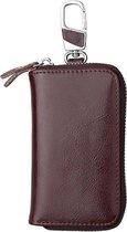Let op type!! 9101 Multi-function Waist Hanging Oil Wax Leather Zipper Wallet Keys Holder Bag(Coffee)