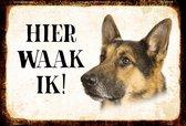 Wandbord- Hier Waak Ik - Duitse Herder
