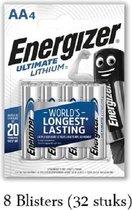 32 stuks (8 blisters a 4 stuks) Energizer Lithium AA/L91 1.5V 4pack