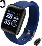"""Tijdelijke AANBIEDING Smartwatch - Activity tracker - scherm 1,3"""" - stappenteller - bloeddrukmeter - verbrande calorieen - blauw - USB oplaadstekker kado - GRATIS extra zwarte polsband`- Nederlandstalige handleiding"""