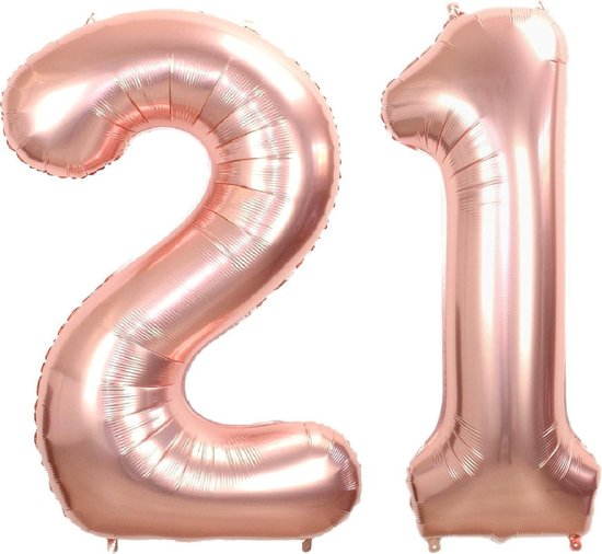 Folie Ballon Cijfer 21 Jaar Rosé Goud 86Cm Verjaardag Folieballon Met Rietje