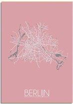 DesignClaud Berlijn Plattegrond poster Roze A3 + Fotolijst zwart