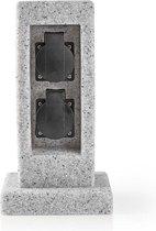Nedis Stekkerdoos Buiten | IP44 | 2 x Schuko Stopcontact |Grijs Steenmotief