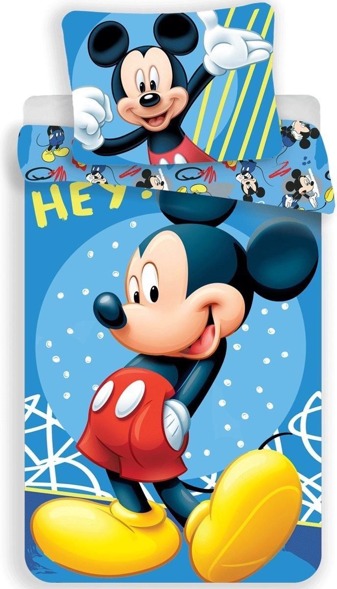 Dekbedovertrek- Disney Mickey Mouse Hey- Eenpersoons-  140x200 cm - Blauw kopen