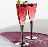 10x wegwerp plastic champagne fluiten met zilveren voet - Mozaik van Sabert