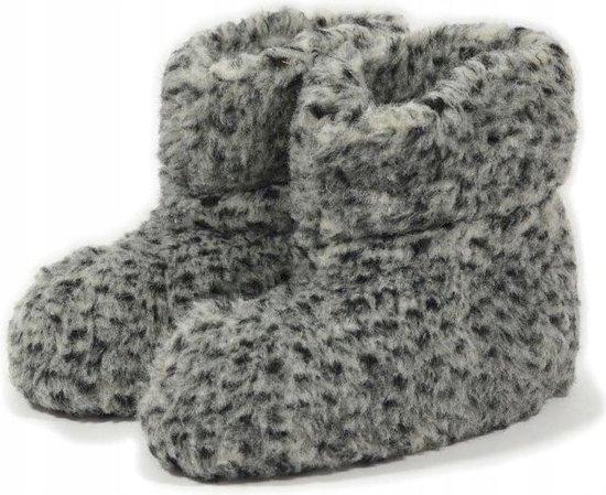 Sheepsjop® Wollen sloffen - 100% schapenwol, Zeemleren zool, Grijs gevlekt - Unisex - maat 37