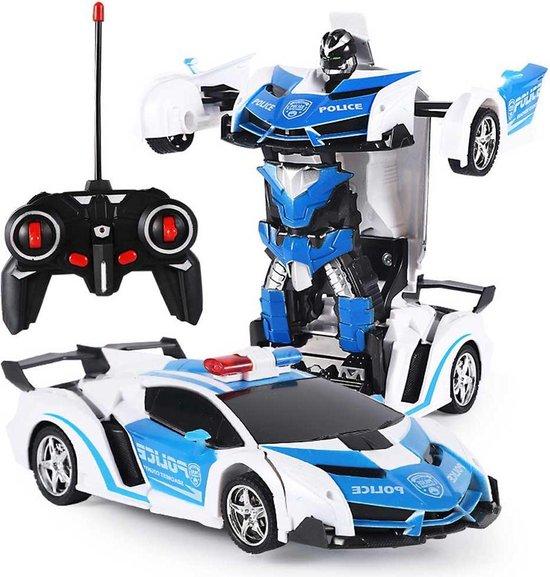 Huntex RC transformerende auto/robot - 2 in 1 - Afstandsbestuurbare Auto - Gratis Batterijen - Politie - Police Car - Lamborghini - Neonlicht - Radiografische - Speelgoed Auto
