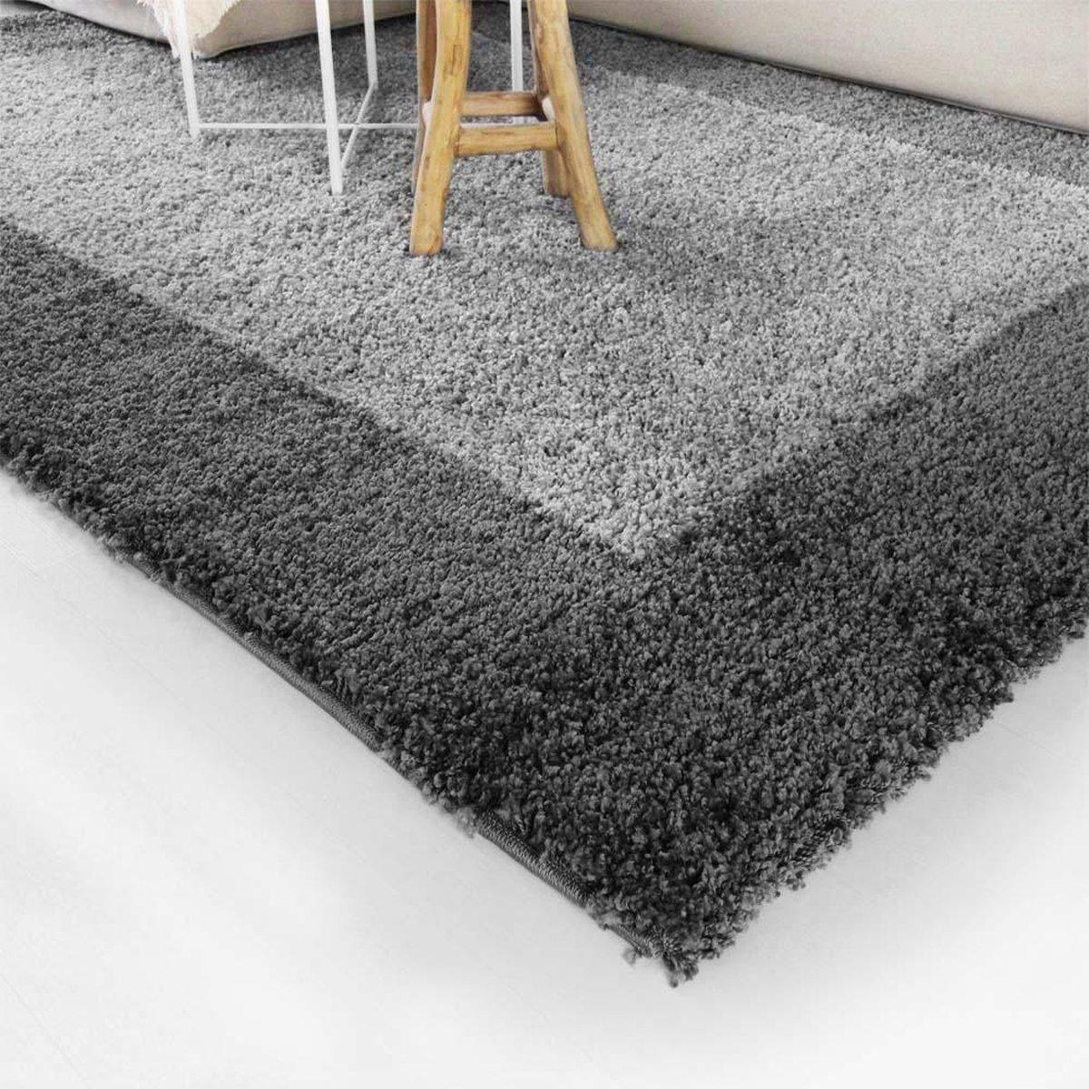 Hoogpolig vloerkleed shaggy Trend lijstmotief - grijs 60x110 cm