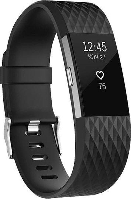 By Qubix - Fitbit Charge 2 bandje - siliconen diamond - Small - Zwart