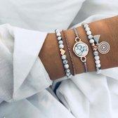 Bohemian armbanden marmer love hartje mandala 4 delig - Dames - Goudkleurig - 18 cm