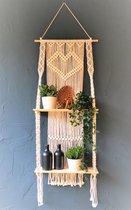 Macramé Wanddecoratie - Wandkleed - Plantenhanger - 150x50cm  - met planken - Home Decoratie - Muuropknoping - Wandhanger - Woonkamer