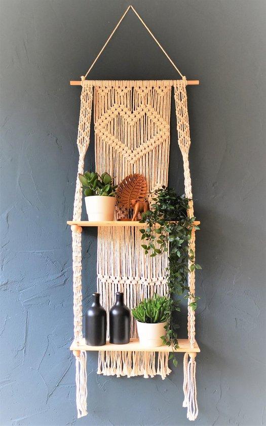 Macramé Wanddecoratie - Wandkleed - Plantenhanger - 150x50cm - met planken - Home Decoratie - Muuropknoping - Wandhanger - Woonkamer - Moederdag cadeau tip!
