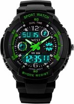 West Watch – multifunctioneel kinder sport horloge - model Storm – Chronograaf – Shockproof - Digitaal/Analoog - Groen