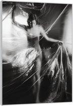 Plexiglas –Vrouw achter Plastic Doek– 100x150cm Foto op (Wanddecoratie op Plexiglas)