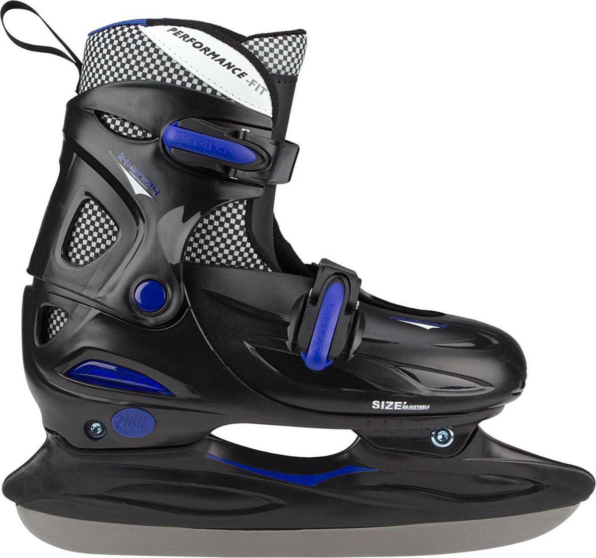 Nijdam Junior IJshockeyschaats - Verstelbaar - Hardboot - Zwart/Blauw - Maat 27-30