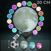 FOOCCA Maanlamp 3D - 20 cm - Tafellamp - Accu 15 tot 89 uur - Maan Lamp met 16 dimbare LED kleuren en Afstandsbediening - Extra Realistisch - Sfeerlamp, nachtlamp en leeslamp