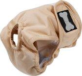 Hondenbroekje - loopsheid - menstruatie - maandstonden of na operatie - wasbaar - BEIGE - MEDIUM
