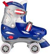 Nijdam Rolschaatsen Junior Verstelbaar Hardboot - Roller Rage - Blauw/Rood/Zilver - 30-33
