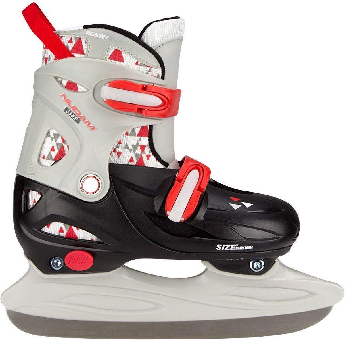 Nijdam IJshockeyschaats Junior Verstelbaar - Hardboot - Zwart/Grijs/Rood - Maat 34-37