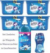 Lenor Zeebries Set 4x waspods - 1x 1,15L wasverzachter - 1x Zeebries Geurbooster
