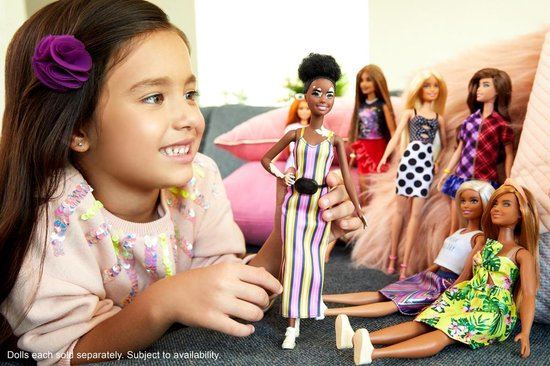 Barbie Fashionistas pop in gestreepte jurk - Barbiepop