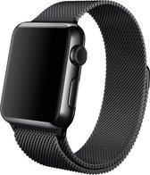 By Qubix - Milanees Apple watch bandje 42mm / 44mm RVS - Zwart - Apple watch bandjes