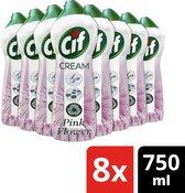 Cif Pink Flower Cream Schuurmiddel - 8 x 750 ml - Voordeelverpakking