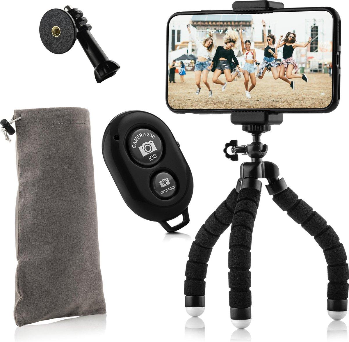 MOJOGEAR Flexibel mini-statief KIT: met telefoonhouder, bluetooth remote, GoPro-adapter & opbergzakj