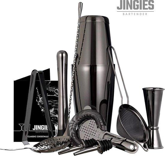 Jingies Bartender- Professionele Cocktail Shaker – Cocktail Set - RVS Food Grade - Zwart – 11-delig – Incl. Recepten E-book