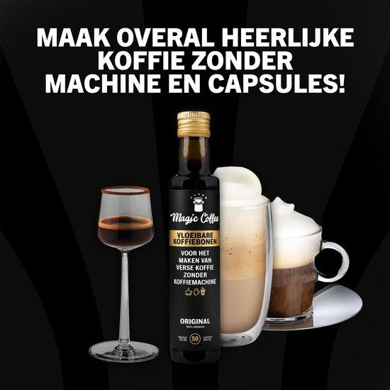 Magic Coffee - Vloeibare koffiebonen - koffie zonder koffiezetapparaat - geen Koffiecapsules - Alleen met waterkoker of melkopschuimer - Duurzaam - 50 koppen koffie
