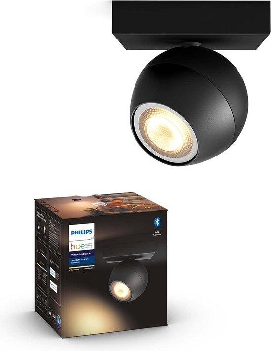Philips Hue Buckram opbouwspot - warm tot koelwit licht - 1-lichts - zwart