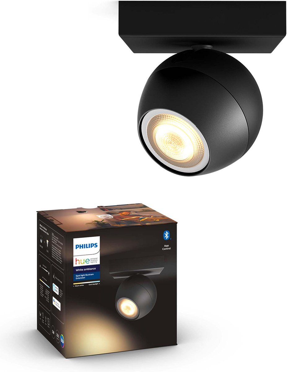 Philips Hue - BUCKRAM single spot black 1x5.5W 230V - White Ambiance - Bluetooth Without Dimmer