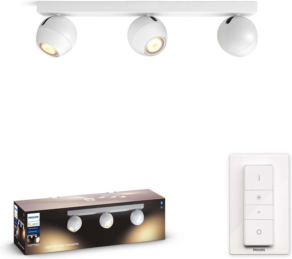 Philips Hue - Buckram 3-Spot Light- White Ambiance - Bluetooth Dimmer Included